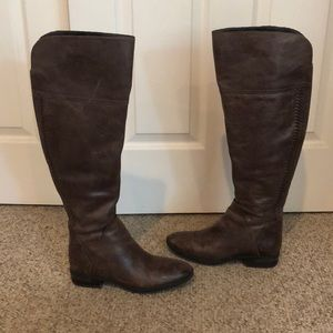 Vince Camuto Taupe Pedro over the knee boots fall